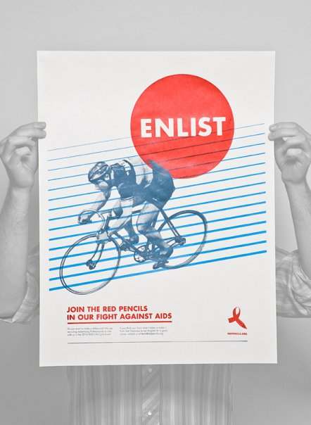 Red Pencils Bike Poster